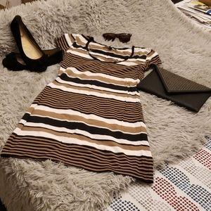 Derek Heart Fit and Flare Striped Mini Dress